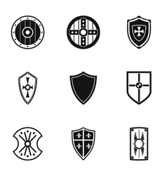Shield icons set simple style vector