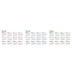 Simple calendar template for 2018 2019 and 2020 vector