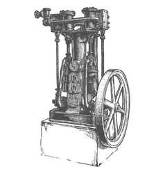 Stationary steam engine vector