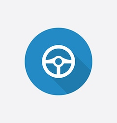 Steering wheel Flat Blue Simple Icon with long vector