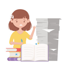 Stress at work worried female employee with stack vector