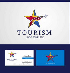 Travel aland flag creative star logo and business vector