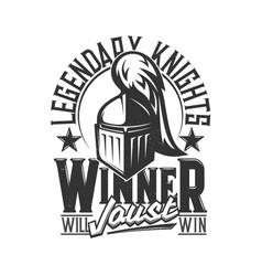 tshirt print with knight head mascot design vector image