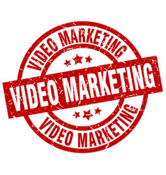 Video marketing round red grunge stamp vector