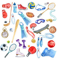 Watercolor sport doodle set vector