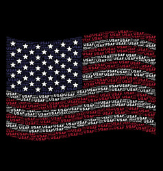 Waving american flag stylized composition of usaf vector