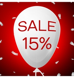 White Baloon with text Sale 15 percent Discounts vector