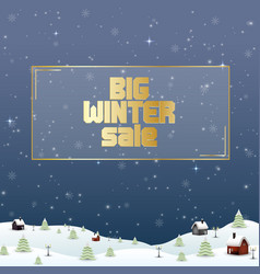 winter sale background with village landscape vector image