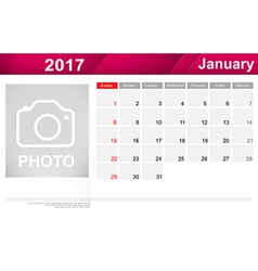 Year 2017 january month simple and clear design vector image