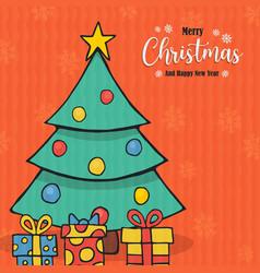 year pine tree gift cartoon card vector image
