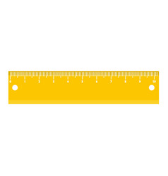 Yellow short ruler icon flat style vector