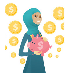 young muslim business woman holding a piggy bank vector image