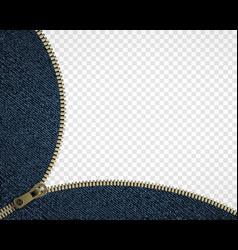 Zipper on denim vector