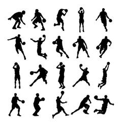 25 basketball black silhouette vector