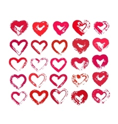 Painted Hearts from Grunge Brush Strokes vector image