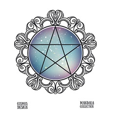 pentagram with space background and mandala frame vector image vector image