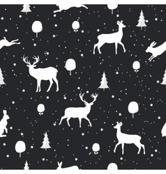 Seamless Christmas pattern with Deer and rabbit vector image vector image