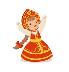 cute girl wearing red sarafan and kokoshnik vector image