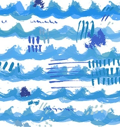 Hand drawn watercolor wave pattern vector image vector image