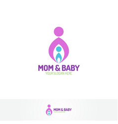 mom and baby logo vector image