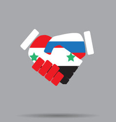 Symbol sign handshake Syria and Russia vector image vector image