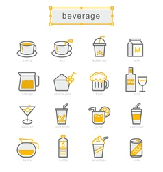 Thin line icons set beverage vector image vector image