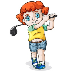 A Caucasian boy playing golf vector image vector image