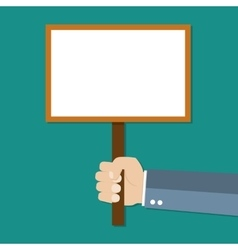 Cartoon businessman hand holding empty sign plate vector image vector image
