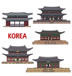 Historic temples and architecture of Korea vector image