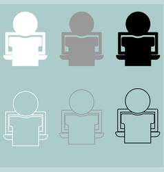 Person or man working on the notebook icon vector