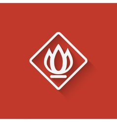 sign fire on red background vector image vector image