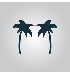 Two Black palm trees silhouette isolated vector image
