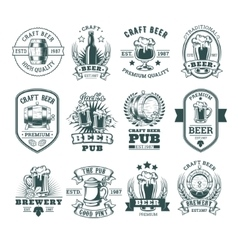 Collection of retro beer emblems badges stickers vector image vector image