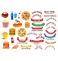 Fast food cafe and pizzeria design elements vector image vector image