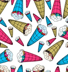 Seamless pattern with ice-cream in retro style vector image