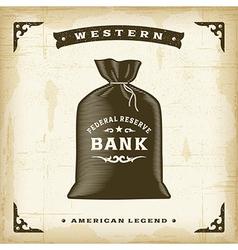 Vintage Western Money Bag vector image
