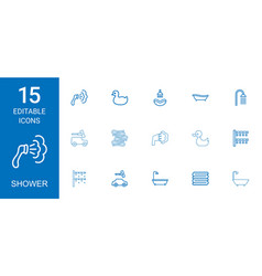 15 shower icons vector