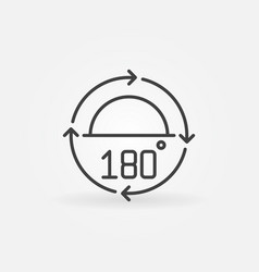 180 degrees angle concept icon in thin line vector