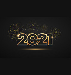 2021 happy new year gold number design firework vector image