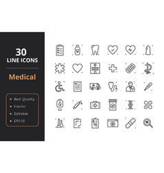 30 medical line icons vector