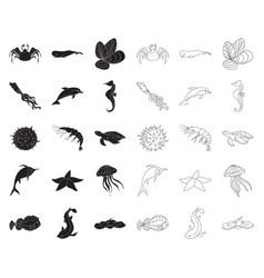 a variety of marine animals blackoutline icons in vector image