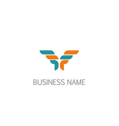 abstract wing initial company logo vector image