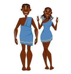 african family in ethnic clothing tribe characters vector image