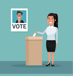Background scene woman in coat and skirt vote for vector