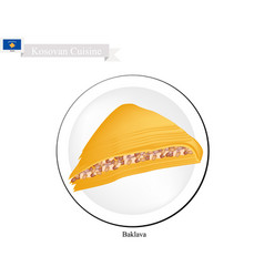 Baklava or kosovan cheese pastry with syrup vector