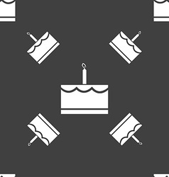Birthday cake icon sign seamless pattern on a gray vector