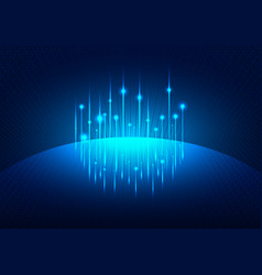 blue glowing futuristic background with planet vector image