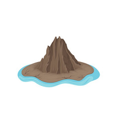 brown rocky mountain surrounded by blue water vector image