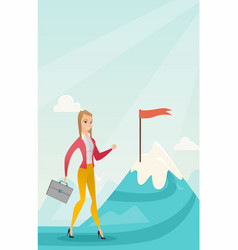 businesswoman running to her business goal vector image