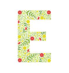 Capital letter e green floral alphabet element vector